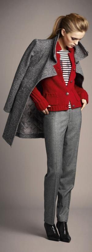Gray pants, striped shirt, red cardigan by gabriela