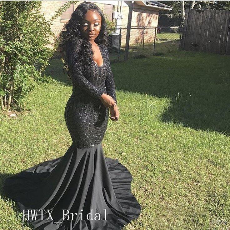 Sexy Meerjungfrau 2019 Abendkleid Mit Langen Ärmeln V-ausschnitt Bling Pailletten Afrikanische Arabische Abendkleider Party Prom Wear Robe de soiree
