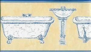 Victorian Bathroom Fixtures Tub Sink etc Blue and Yellow Wallpaper ...