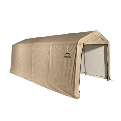 Auto Shelter, 1-3/8 5-Rib Peak Style Frame, Sandstone Cover 10X20 for $299.99 #CozyDays #StorageShelters #HomeGarden