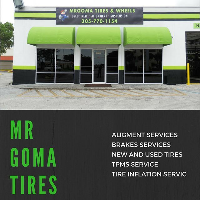 Mrgoma tires offers all the autoservices and tires your need ,We have a first-class  brick and mortar shop to better serve you, we are located at 20282 NW 2nd Ave (441), Miami Gardens, Fl, 33169. #mrgomatires #newtires #usedtires #alignment #brakes