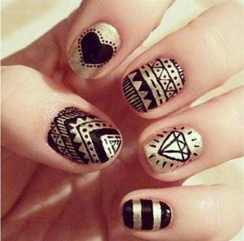 Sharpie Nails - Easy Tribal Design With Heart And Diamond | Hand-Drawn Nails | Pinterest | Nail ...