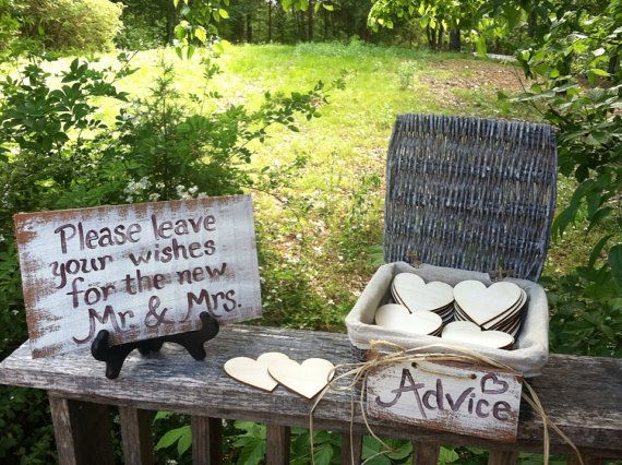 Wedding advice box with 50 wooden hearts guest book alternative on Etsy, $59.00