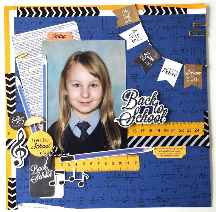 """'Back to School"""" Layout by Amanda Baldwin DT Kaisercraft [2 Cool 4 School Collection] ~ Scrapbook Pages 1;"""