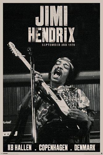 Poster JIMI HENDRIX - Copenhague En 2011, Paul McCartney lui rend un hommage appuyé en interprétant Purple Haze et Foxy Lady. La France n'est pas en reste : en 1990, le festival Jimi's Back se déroula à l'Olympia où 13 artistes rendirent hommage au guitariste. #JimiHendrix #Hendrix