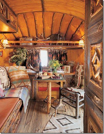 inside Ralph Lauren's trailer with authentic rough wood floor.