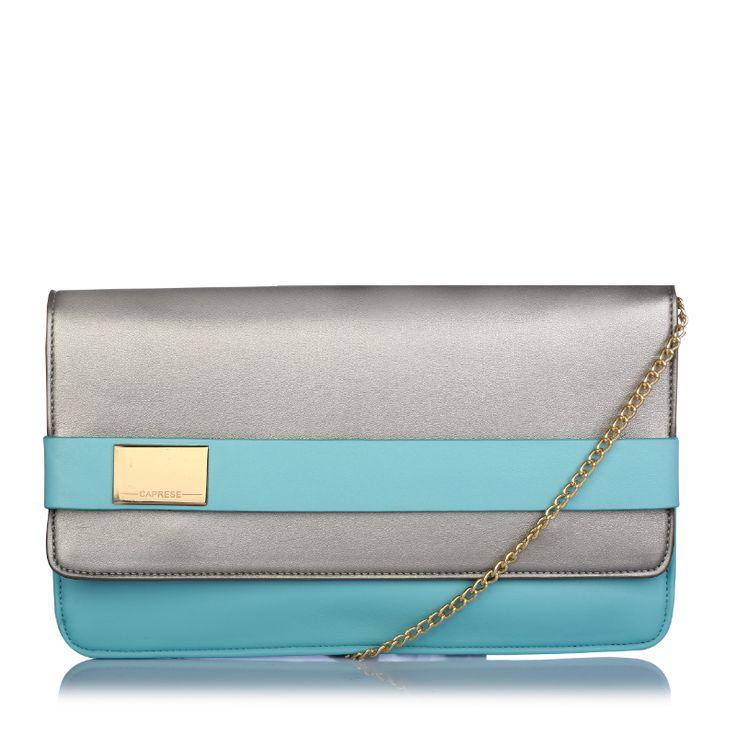 caprese maurine grey & blue clutch for women.  http://acebazaar.in/product/caprese-maurine-clutch-medium-dull-silver-mint/