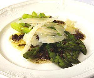 Asparagus with Balsamic Vinegar and Shaved Parmesan - from Bryan Webb, Tyddyn Llan  http://www.rarebits.co.uk/recipes-asparagus-with-balsamic-vinegar-and-shaved-parmesan