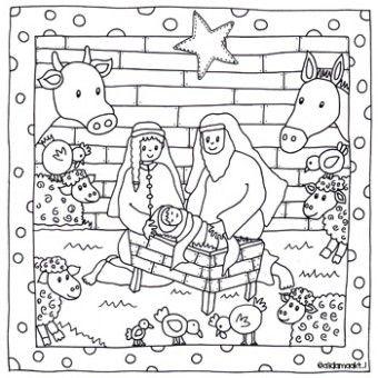 afbeeldingsresultaat voor kleurplaten kerststal kerst