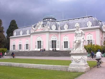 Schloss Benrath is a Rococo maison de plaisance near Dusseldorf Germany; built in 1755-1770. Elements of Neoclassicism are detectable in its interior finishings.