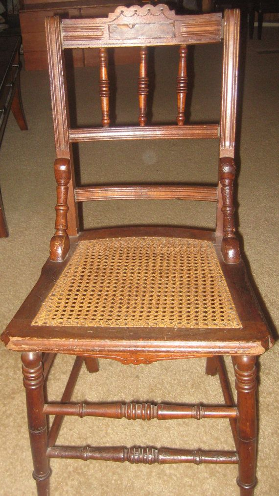 Antique Eastlake Style Spindle Back Cane Bottom Chair
