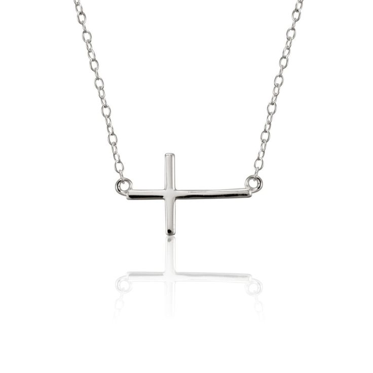 Authority Sterling Silver Sideways Cross Necklace - Small