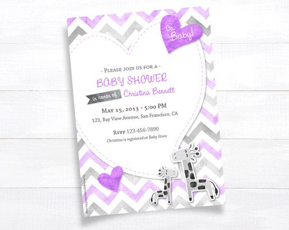Hey, I found this really awesome Etsy listing at https://www.etsy.com/listing/130012450/giraffe-baby-shower-invitation-lavender