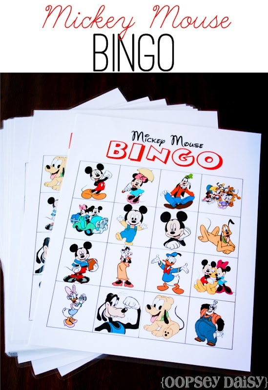 Mickey Mouse Bingo - needs 5 rows - easy to DIY. I'd use the Clubhouse as the free space.