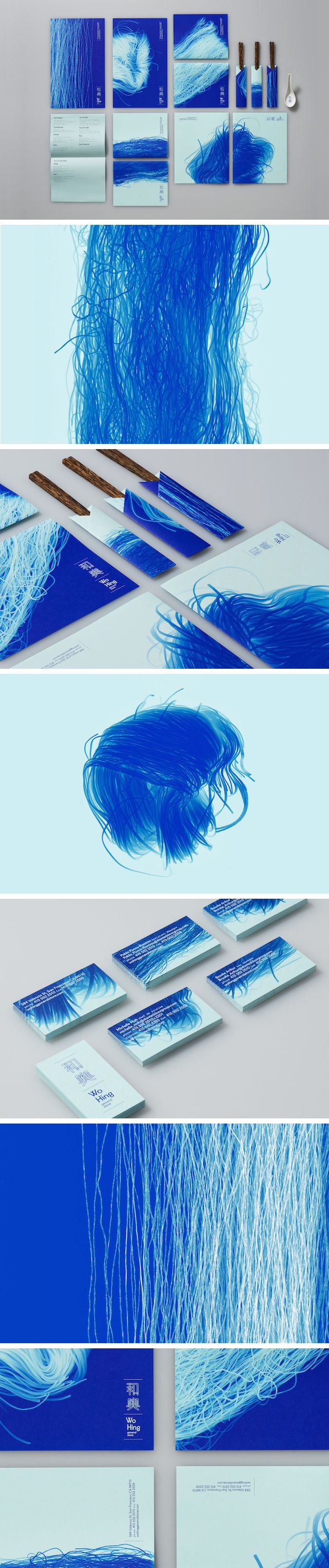 Identity of Wo Hing General Store : a Vietnamese restaurant. The logo and visual represent noodles taken by a scanner to produce a blue monochrome and negative effect inspired by cyanotypes. The restaurant's neon was made with electroluminescent ink. By http://manualcreative.com