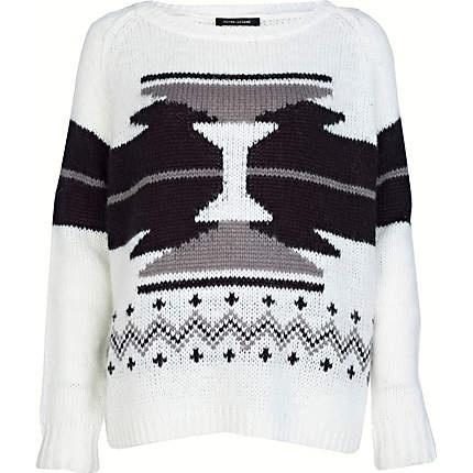 White navajo print jumper - knitwear - sale - women
