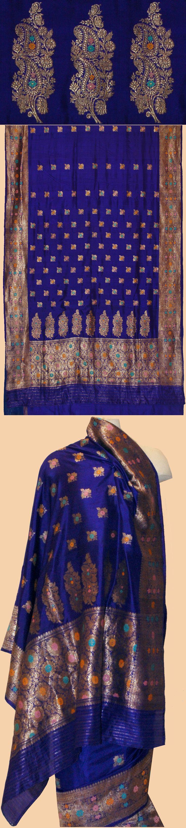 Antique Indian Sari. Silk Brocade with Gold Thread Sari 1800 - 1900 A.D