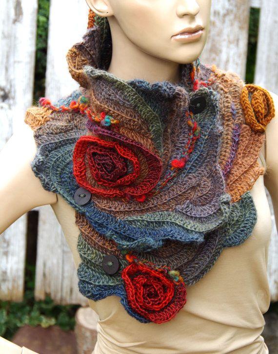 Crochet Scarf Woman winter fashion Gift Crochet button by Degra2