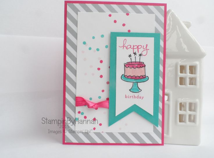 Stampin' Up! UK Endless Birthday Wishes Cake Card #stampinupendlessbirthdaywishes, #stampinupdsp,  #DesignerSeriesPaper