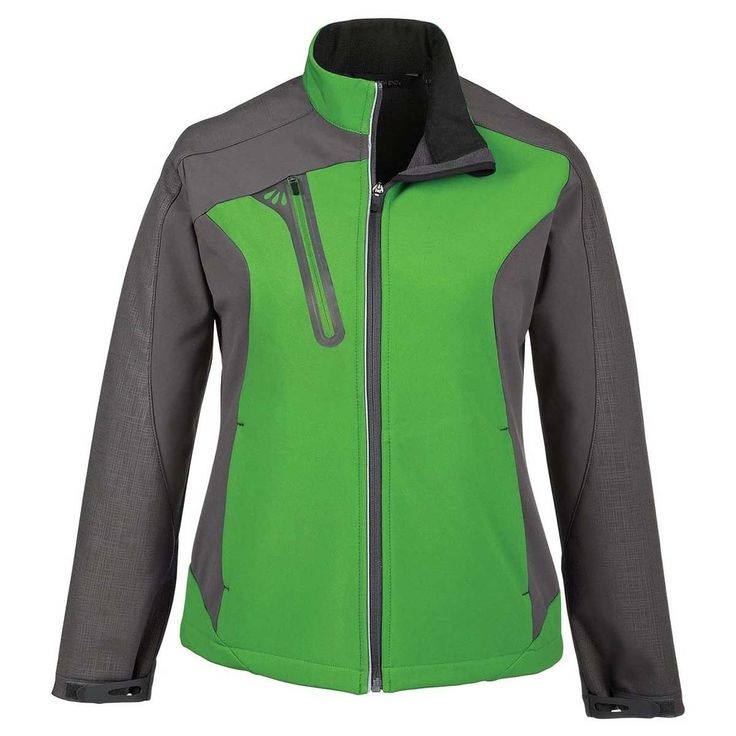 North End Women's Valley Green Terrain Colorblock Soft Shell with Embossed Print