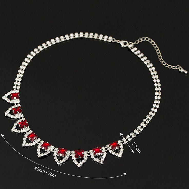 Ювелирный бренд красный кристалл ожерелья и подвески колье коренастый себе ожерелье 2016 мода ожерелья для женщин # N035 купить на AliExpress