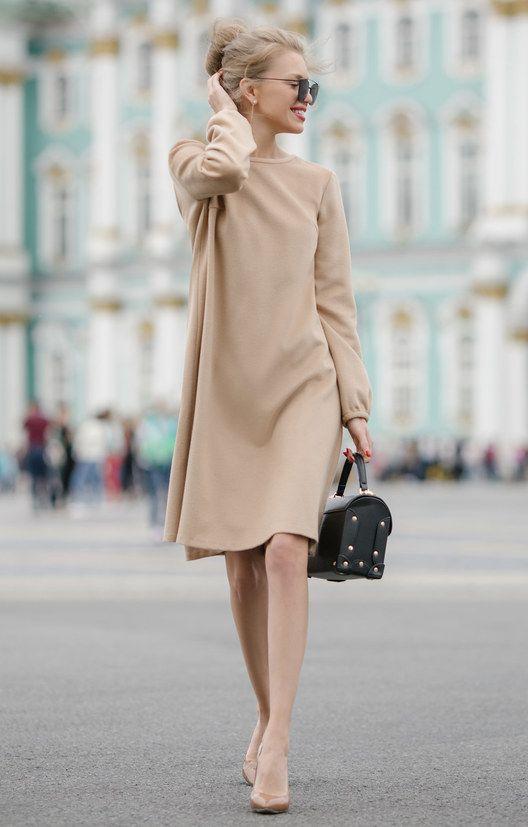 Утепленное платье-колокол с асимметричным подолом TOP20 Studio / 2000000250022-0