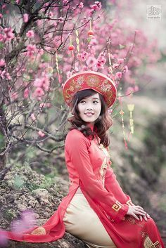 Travel Asian people and national costume Ao dai Vietnam