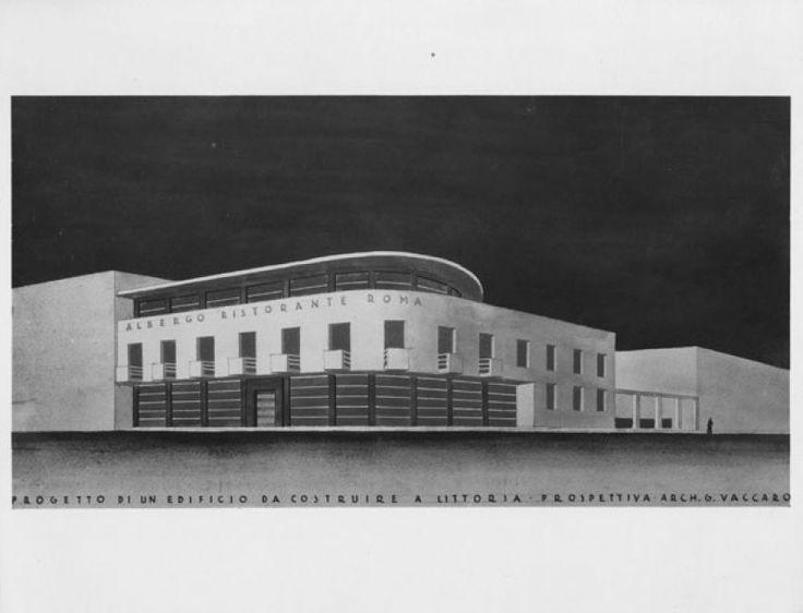 Giuseppe Vaccaro Progetto di un edificio da costruire a Littoria Prospettiva, 20,2x26,3 cm.