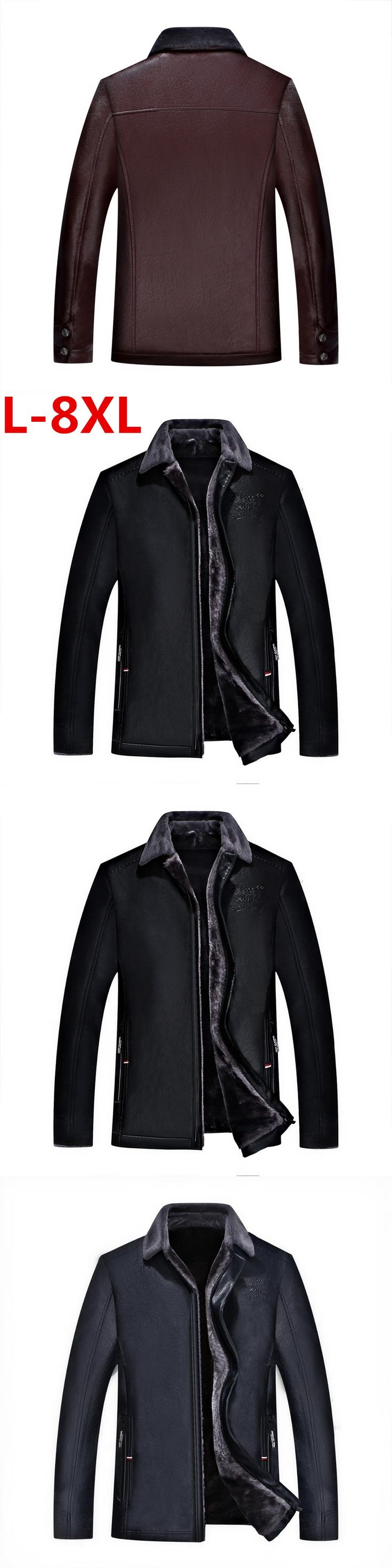 new 8XL 7XL 6XL 5XL 4XL Hot Sale Winter Thick Leather Garment Casual flocking Leather Jacket Men's Clothing Leather Jacket Men