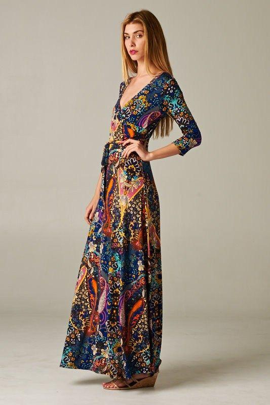 dark print maxi dress