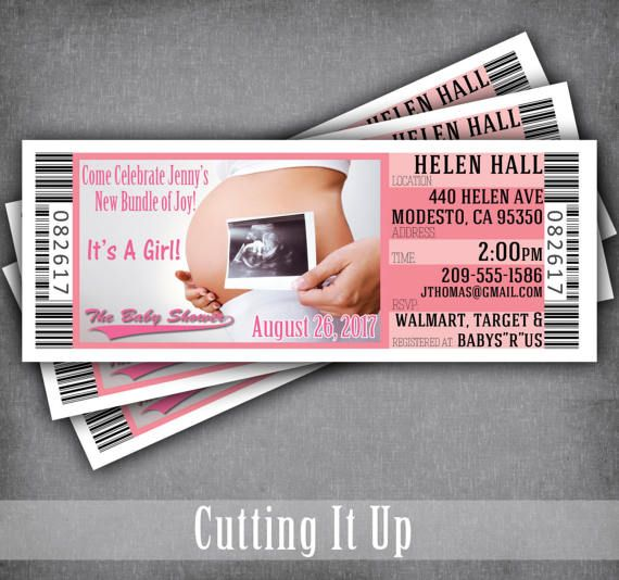 Ultrasound Baby Shower Ticket Invitations, Pregnancy Announcement, Gender Reveal, Sports Theme, Concert Theme, Movie, Girl, Twins, 3D, 4D by CuttingItUp