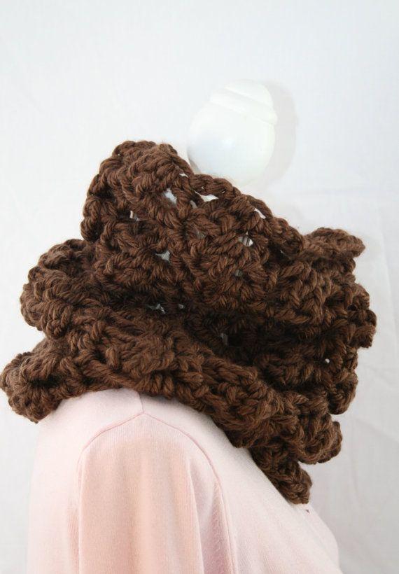 SCIARPA lana grossa / butterfly / chocolate  pizzo  di AloneMavi