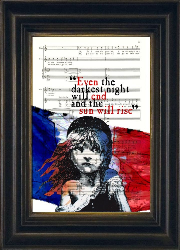 Victor Hugo Les Misérables Quote French Flag on upcycled music sheet print. $8.00, via Etsy.