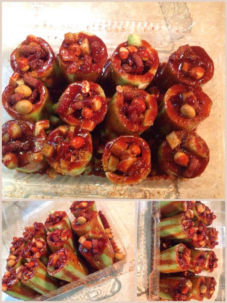 Mexican treats...cucumber filled with chamoy, tamarind candy (chaca chaca), japanese peanuts covered with your favorite chile sauce,lime juice,powdered peppers (tajin) and chamoy.