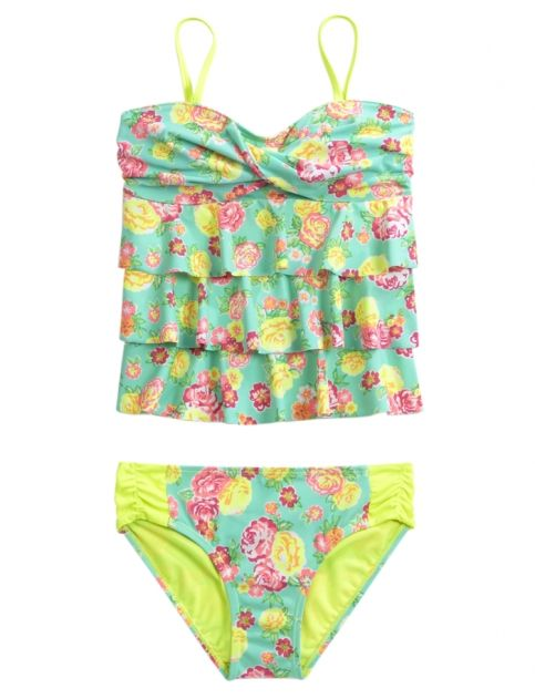 Floral Bandeau Tankini Swimsuit | Girls Swimsuits Swim | Shop Justice