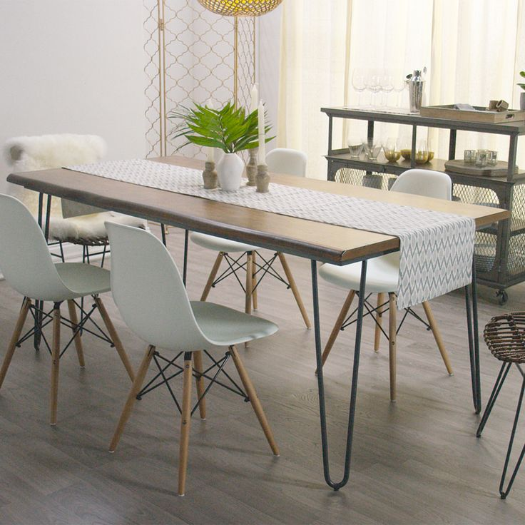 Inspired by the clean European design of the 20th century, our hairpin dining table features a live edge with subtle curves and an organic feel. Hand distressing highlights the natural beauty of the wood grain, creating an inviting setting for memorable meals.