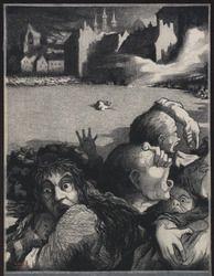 Louvain. La population fuyant la ville martyre incendiée par les Allemands, sous le feu de la soldatesque ennemie à l'arrière-plan