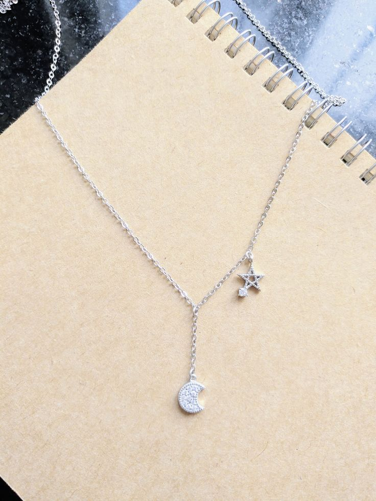 925 Sterling Silver Star and Hanging Moon Necklace by ThoughtsAccessories on Etsy