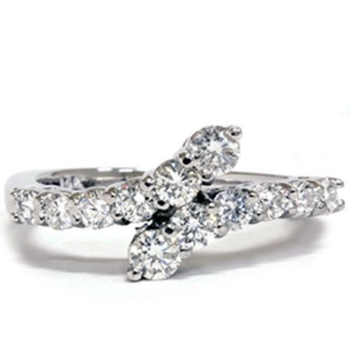 SI .78CT Graduated Diamond Journey Bypass Right Hand White Gold Anniversary Ring, Women's, Size: 9.5