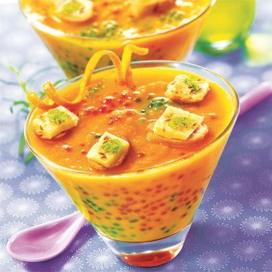 Soupe de carottes à l'orange, gingembre & cumin et ses Perles Japon l Recette Tipiak