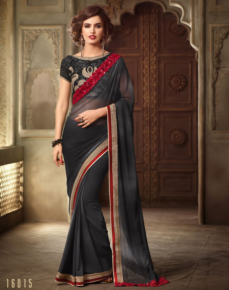 #Lalgulal Black Georgette Embroidery #Designer Blouse #Partywear #Bridemate #Saree. Buy Now :- http://www.lalgulal.com/sarees/black-georgette-embroidery-designer-blouse-partywear-bridemate-saree-690 To Order Visit our #Website or You can Call or #Whatsapp us on +91-95121-50402.  #COD & #FreeShipping Available only in India.