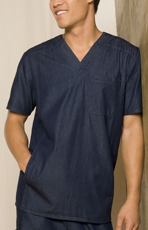 "Unisex V-Neck Top in Indigo Blue Unisex Fit V-neck top features a front and back yoke, two side entry pockets, a chest pocket with a button hole, bar tack and multi needle stitch details. Center back length: 29 1/2"".  Fabric: 100% Cotton Light Weight Denim $25.99 #scrubs #nurses #doctors #medicaloutlet"