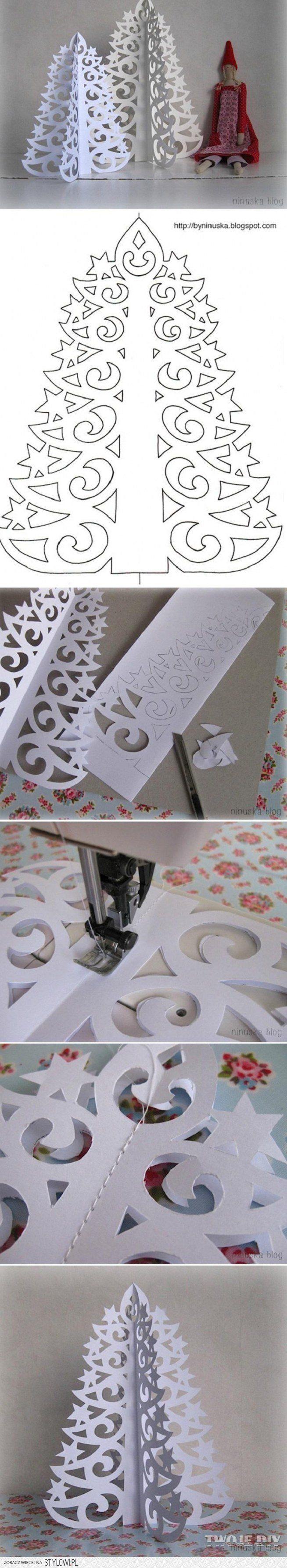 Árbol de navidad de papel fácil.