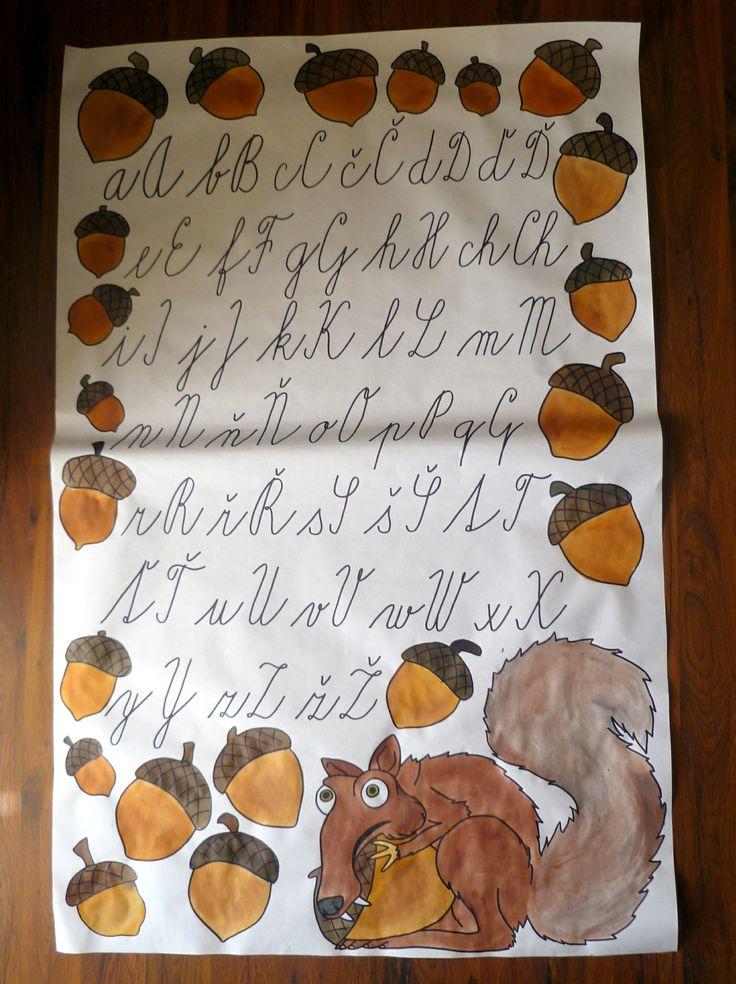 Třída U veverky - tabule psacího písma