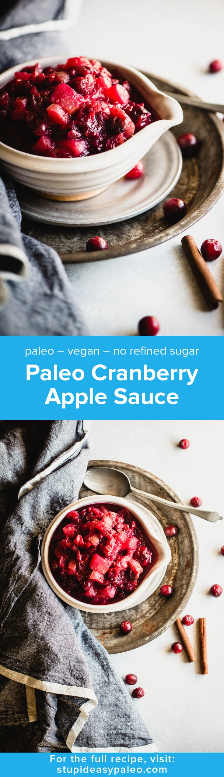 Paleo Cranberry Apple Sauce is the perfect healthy side dish for any holiday meal. Simple to make, gluten-free, vegan, and refined sugar free. | StupidEasyPaleo.com