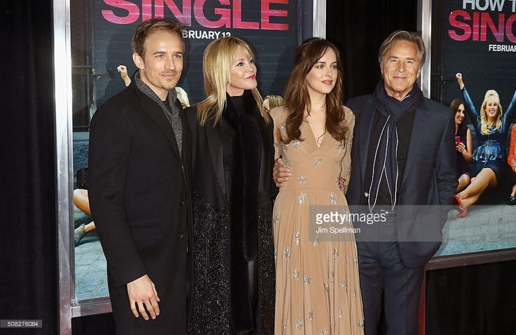 Actors Jesse Johnson, Melanie Griffith, Dakota Johnson and Don Johnson attend the 'How To Be Single' New York premiere at NYU Skirball Center on February 3, 2016 in New York City.