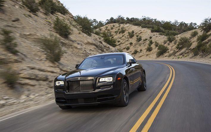 Descargar fondos de pantalla Rolls-Royce Wraith, Negro Insignia de 2017, coches de lujo, negro Wraith, la carretera, la velocidad, el Rolls-Royce
