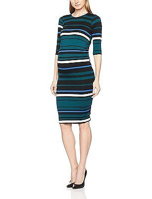 10, Green, Dorothy Perkins Maternity Women's Stripe Ruched Bodycon Dress NEW