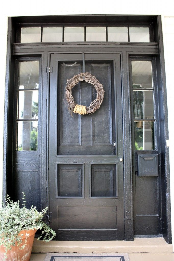 Repaint front door black, add old school wood screen door painted to match.