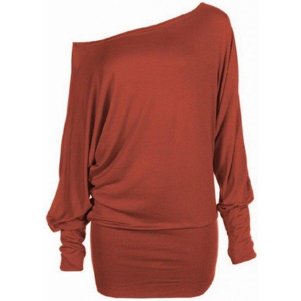 Hot Hanger Women's Long Sleeve Off Shoulder Plain Batwing Top ❤ liked on Polyvore featuring tops, off the shoulder batwing top, off the shoulder long sleeve top, long sleeve tops, batwing tops and red off the shoulder top